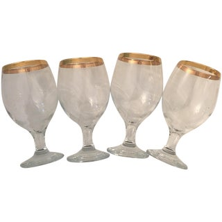 Vintage Wine Gold Rimmed Wine Glasses- Set of 4