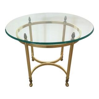 Vintage Brass & Glass Oval Side Table