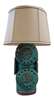 soholm green and brown midcentury industrial table lamp