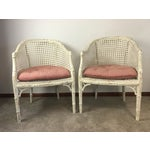 Image of Vintage Faux Bamboo Rattan Chairs - A Pair