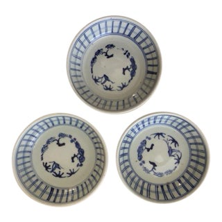 Antique Japanese Blue and White Bowls - Set of 3