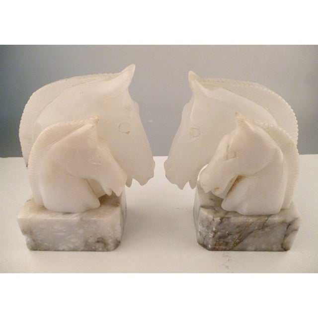 Alabaster Horse Bookends on Marble Bases - Pair - Image 7 of 11