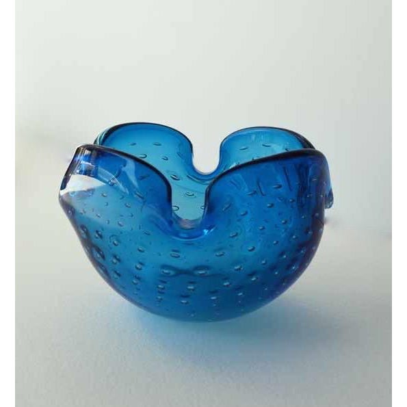 Alfredo Barbini Murano Dimpled Blue Bowl - Image 2 of 7