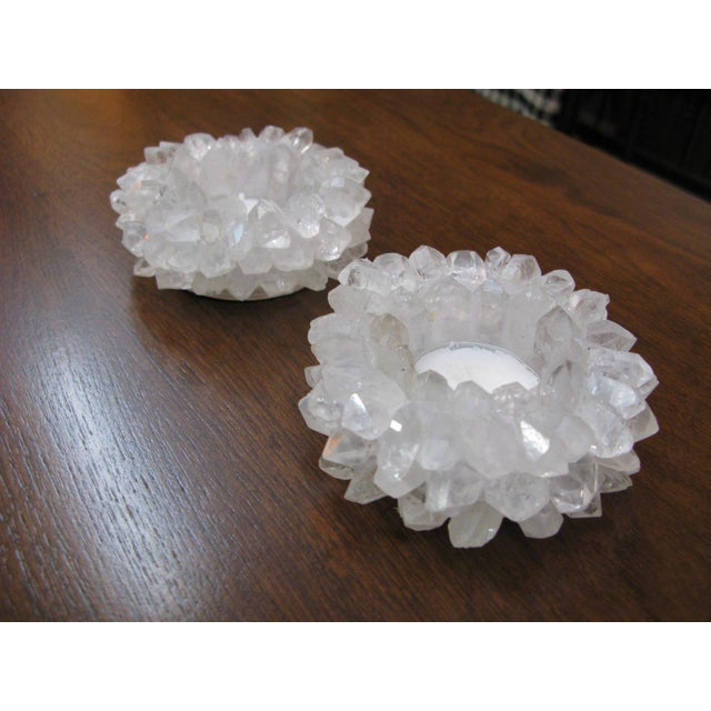 Clear Quartz Candle Holders - A Pair - Image 10 of 11