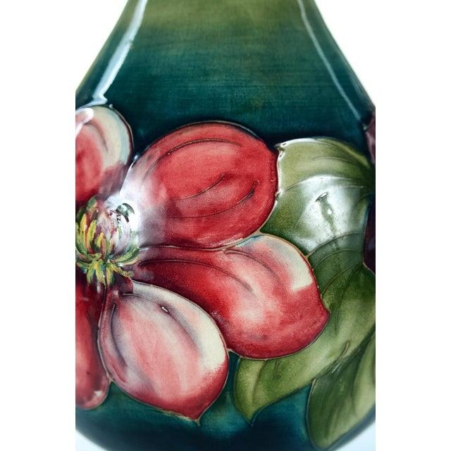 Image of Moorcroft Green & Red Flowers Pottery Art Vase