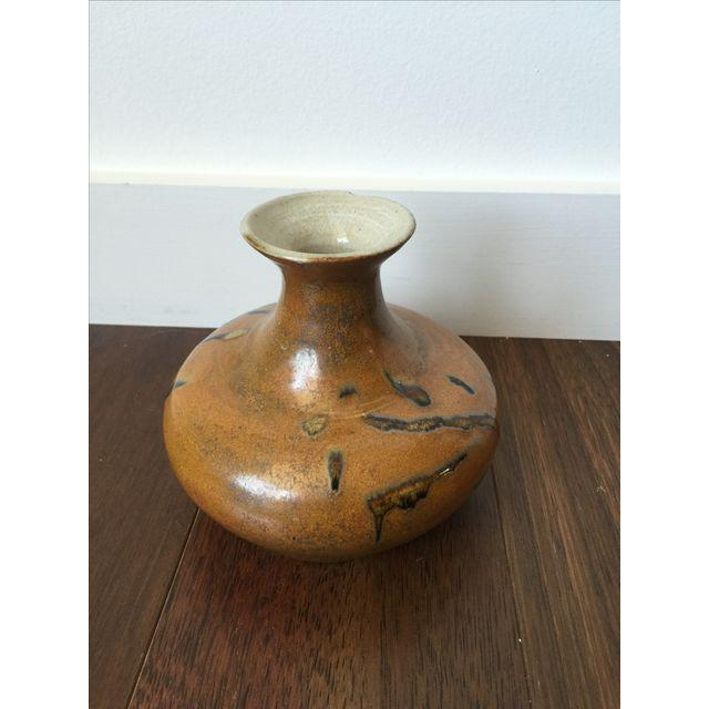 Image of Tree Design Handmade Tan Clay Vase