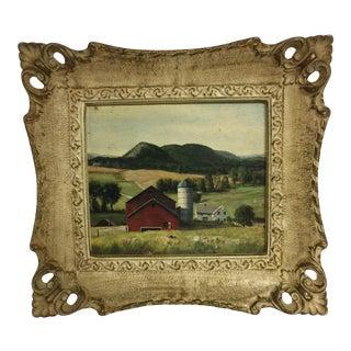 Framed Mid-Century Farm Scene Print