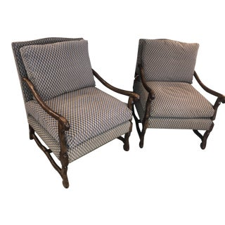 Blue & Gold Wood Frame Chairs - A Pair