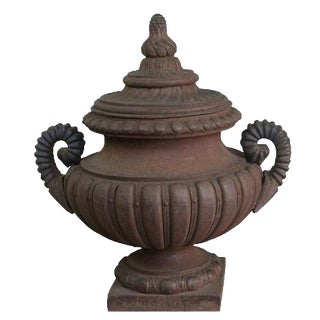 Monumental French Cast Iron Lidded Urn