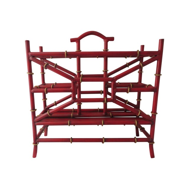 Red Metal Bamboo Magazine Rack - Image 1 of 3