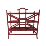 Image of Red Metal Bamboo Magazine Rack