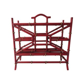 Red Metal Bamboo Magazine Rack