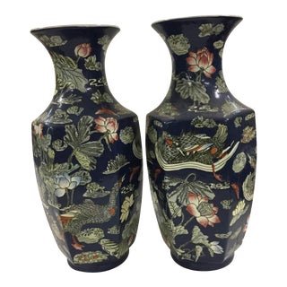 Blue Vases with Goose/ Lotus - A Pair