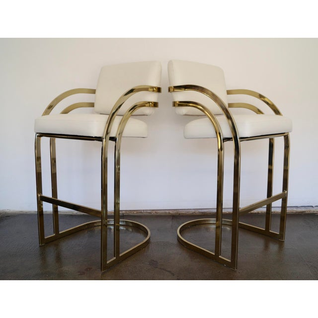Hollywood Regency Cantilevered Bar Stools in Brass - A Pair - Image 2 of 8