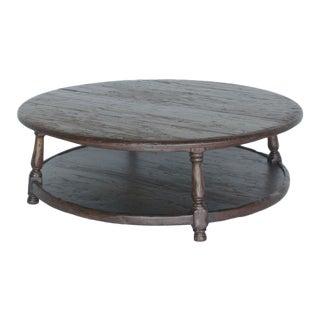 Custom Walnut Wood Round Colonial Coffee Table With Shelf