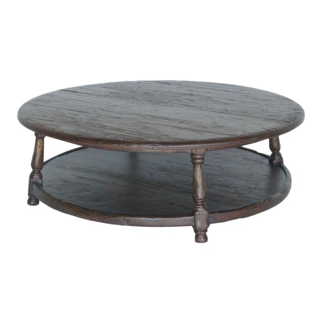 Custom Walnut Wood Round Colonial Coffee Table With Shelf - Image 1 of 10