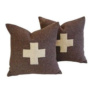 Large Swiss Wool Appliqué Cross Pillows - Pair