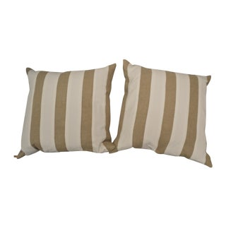 Linen Pillows With White Stripes - A Pair