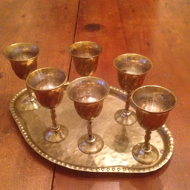 Vintage Brass Cordial Glasses and Tray - Set of 7 - Image 4 of 11