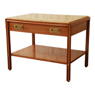 Gerry Zanck for Gregori Mid-Century Walnut & Travertine Side Table