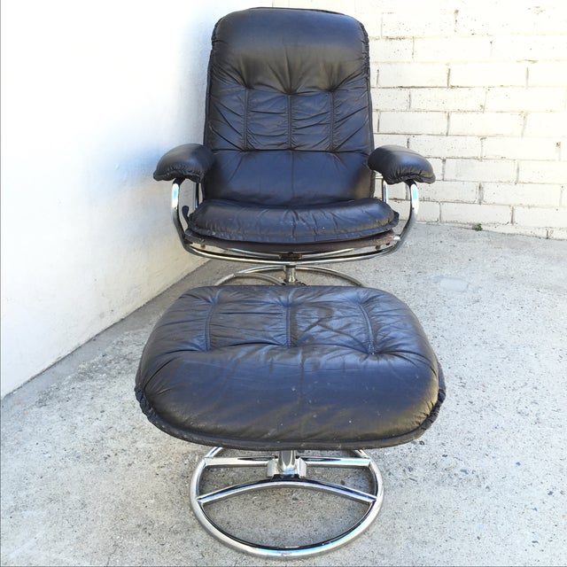 Mid-Century Italian Leather Chair and Ottoman - Image 5 of 11