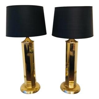 Vintage Brass Tall Pillar Lamps - a Pair