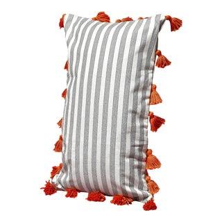 White Lurik Pillowcase with Ginger Orange Pom-poms