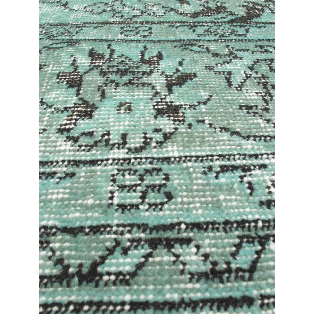 "Green Vintage Turkish Overdyed Rug - 7'2"" X 10'6"" - Image 2 of 2"