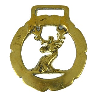Vintage English Brass Stag Equestrian Ornament