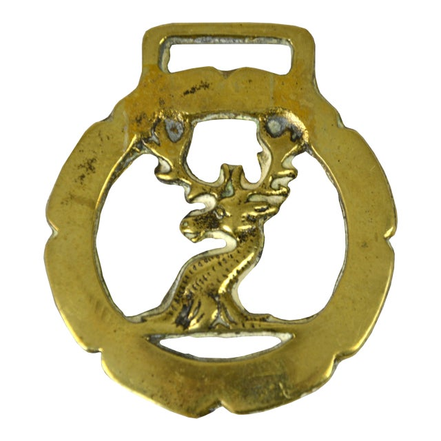 Vintage English Brass Stag Equestrian Ornament - Image 1 of 3