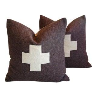 Custom Swiss Appliqué Cross Wool Pillows - A Pair