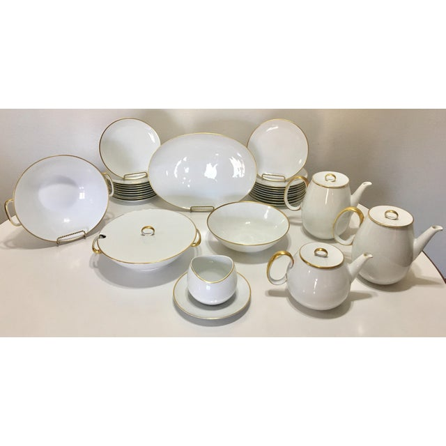 Pure White Porcelain With Gold Trim Serving Ware 28Pcs - Image 2 of 8