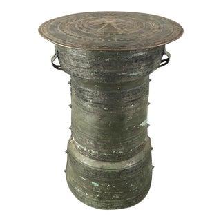 Antique Burmese Thai Bronze Frog Rain Drum Side Table