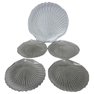 Vintage Glass Scallop Plates & Server - Set of 5
