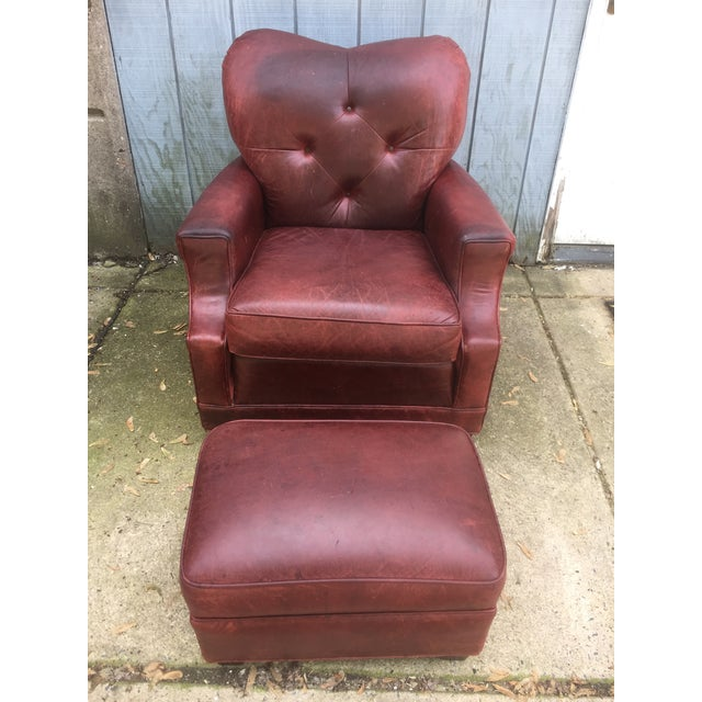 Art Deco Style Vintage Leather Chair & Ottoman - Image 8 of 9
