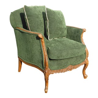 Vintage French Louis XV Style Forest Green Velvet Arm Chair