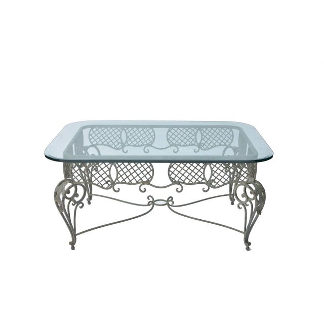 Iron Tole & Glass French Coffee Table - Image 1 of 4