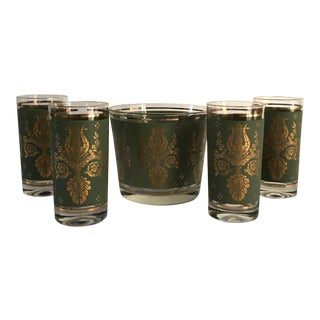 Hollywood Regency 24k-Gold Decorated Ice Bucket & Tumblers - Set of 5