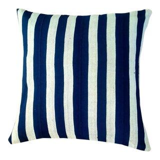 African Indigo Striped Cotton Pillow