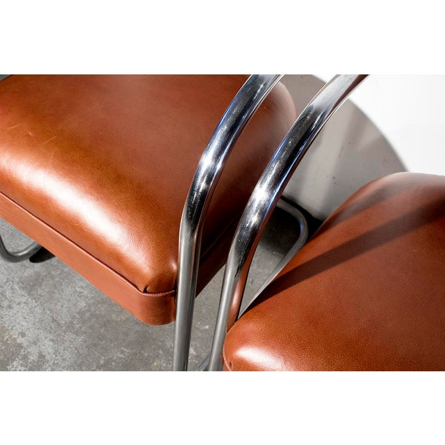 1930s Chromcraft Cantilever Leather Armchairs- A Pair - Image 5 of 7