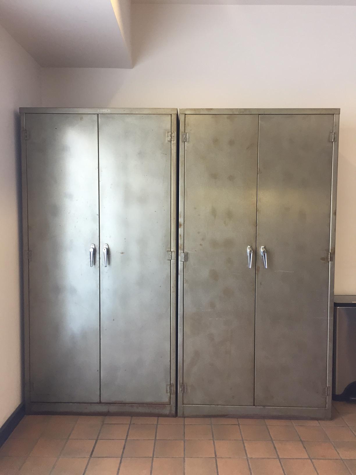Vintage Industrial Metal Storage Cabinets Lockers  A Pair   Image 2 Of 10