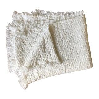 Handwoven White Basketweave Throw