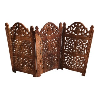 Indian Handcarved Wood Folding Screen