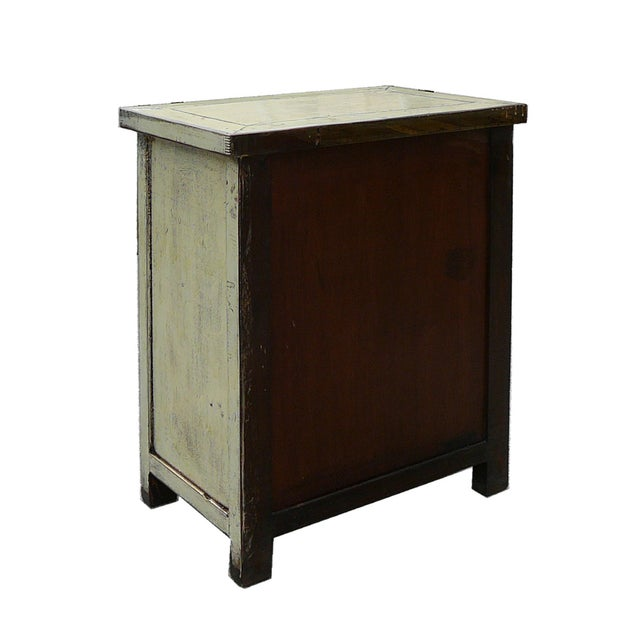 Image of Elm Wood Cream White Lacquer Cabinet Nightstand