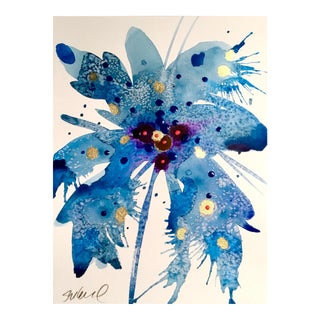 Gold & Blue Botanical Watercolor Painting