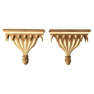 Gothic Style Decorative Cream and Gilt Painted Brackets - A Pair