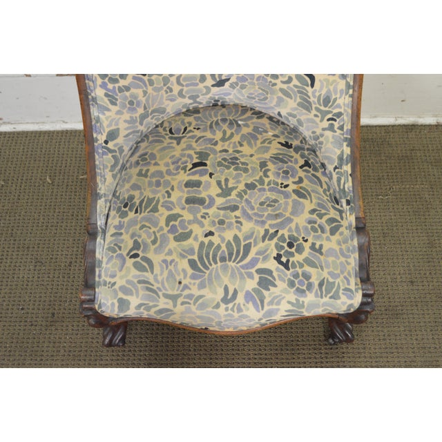 Antique Victorian Walnut Frame Slipper Chair - Image 10 of 11