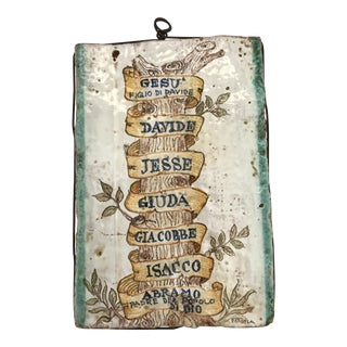 Antique Glazed Ceramic Tuscan Tree of Life Tile