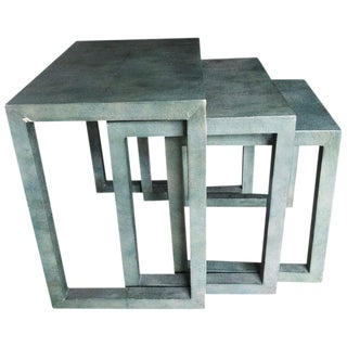 Contemporary Faux Shagreen Nesting Tables - Set of 3