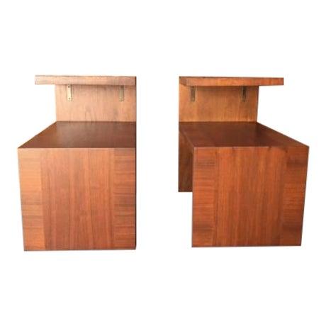 Image of Mid-Century Vintage Walnut Side Tables - A Pair